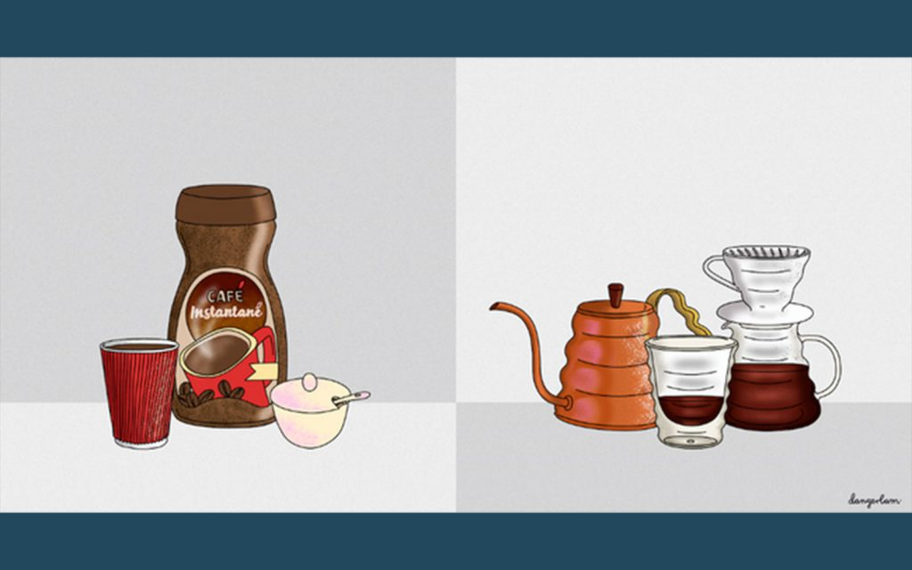 Danger Lam illustration of instant and slow drip coffee