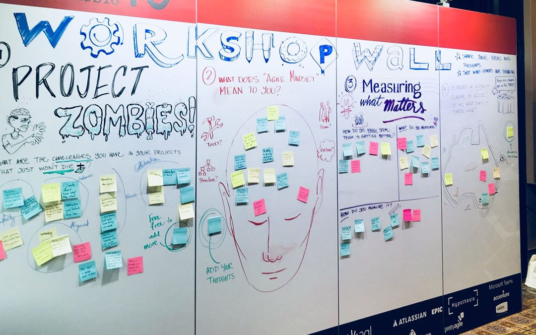 Working on a Workshop Wall at AgileAus18